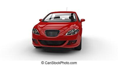 piros, kis autó, elülső