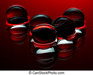 piros, kristály labda, a vízben, -, elvont, háttér