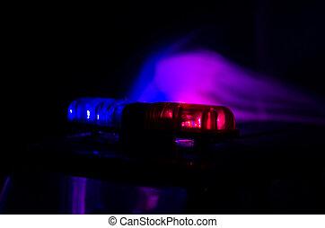 piros lámpa, hencegő alak, tetején, közül, egy, rendőrség, autó., város láng, képben látható, a, háttér., rendőrség, kormány, fogalom