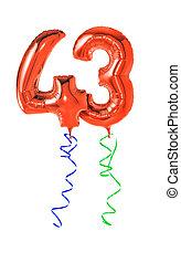 piros, léggömb, noha, szalag, -, szám, 43
