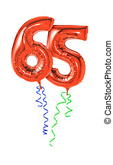 piros, léggömb, noha, szalag, -, szám, 65