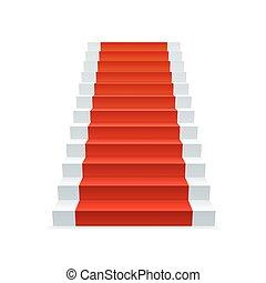 piros, lépcsőház, szőnyeg
