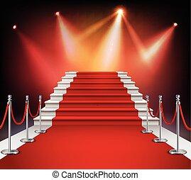 piros, lépcsősor, szőnyeg