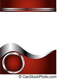 piros, mély, sablon, névjegykártya, ezüst, fehér