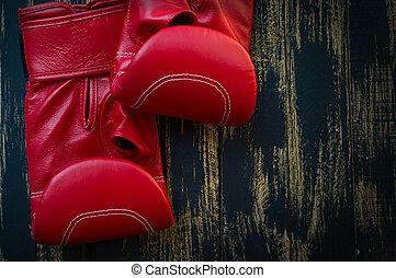piros, megkorbácsol, ökölvívás kesztyű, képben látható, egy, black háttér