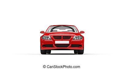 piros, modern, autó, elülső