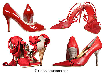piros, női, cipők