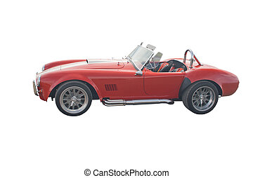 piros, nyitott sportautó, klasszikus