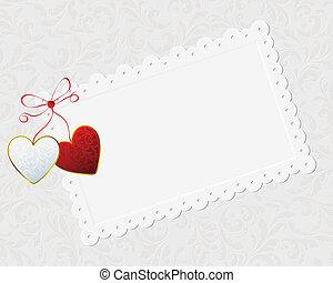 piros, párosít, gratuláció, kártya
