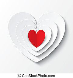 piros, papír szív, valentines nap, kártya, képben látható, white.