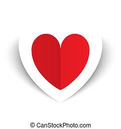 piros, papír szív, valentines nap, kártya, white