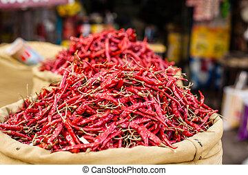 piros, paprica, alatt, hagyományos, növényi, piac, alatt, india.