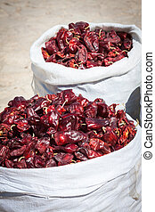 piros, paprica, alatt, hagyományos, növényi, piac, alatt, marokkó