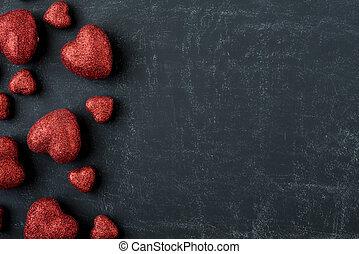 piros, piros, képben látható, egy, chalkboard, helyett, valentines nap