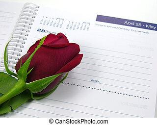 piros rózsa, naptár