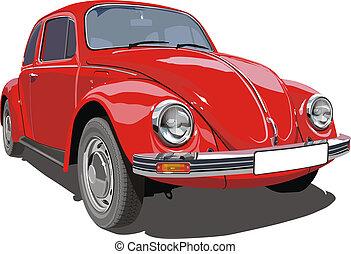 piros, retro, autó