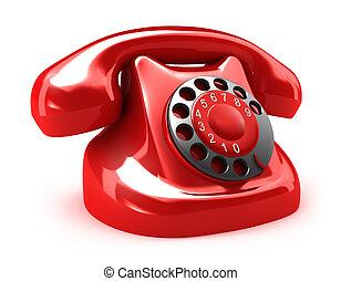 piros, retro, telefon