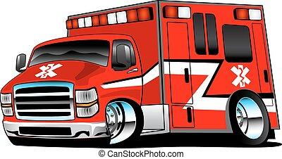 piros, rohammentős, mentőautó