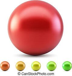 piros, sima, labda, vektor, ábra, elszigetelt, white, háttér, noha, meleg, szín, samples.