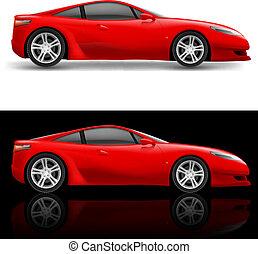 piros, sport, autó