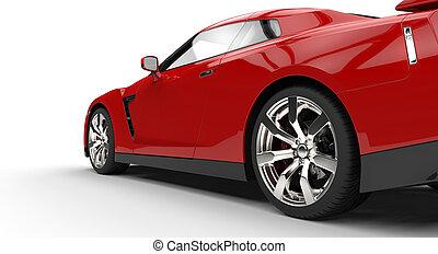 piros, sportkocsi, hát, szegély kilátás
