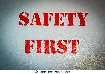 piros, szín, biztonság első, aláír, képben látható, csónakázik, fal