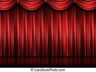 piros, színház, függöny
