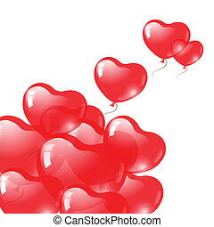 piros szív, alakú, balloons., valentin nap, jelkép.