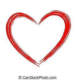 piros szív, ., grunge, stamps., szeret, alakít, helyett, -e, design.