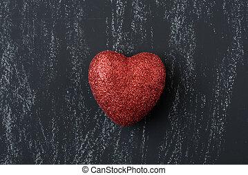 piros szív, képben látható, egy, chalkboard, helyett, valentines nap