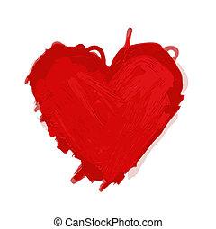 piros szív, skicc, helyett, -e, tervezés