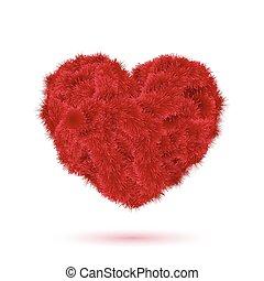 piros, szőr, szív, helyett, -e, kedves, design.