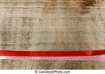 piros szalag, helyett, tehetség göngyöleg, képben látható, fából való, háttér