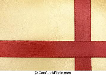piros szalag, képben látható, egy, arany, háttér