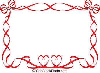 piros szalag, keret, elszigetelt, white