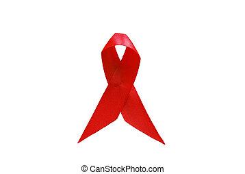 piros szalag, mint, jelkép, közül, aids tudatosság, felett, fehér