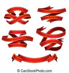 piros, szalagcímek, állhatatos, (vector)