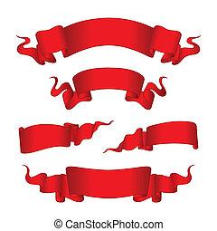 piros, szalagcímek, (illustration)