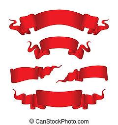 piros, szalagcímek, (vector)