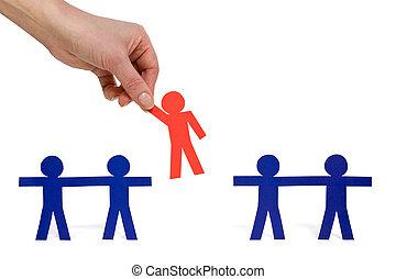 piros, személy, csoport, eldöntés