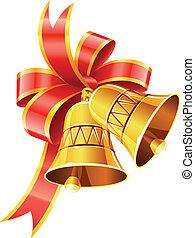 piros, tök, karácsony, gold vonó