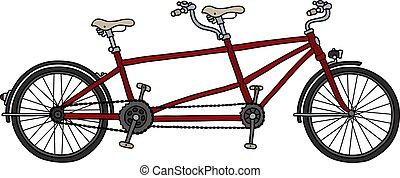 piros, tandem bicikli