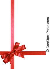 piros, tehetség, szalag, íj, elszigetelt, white, háttér, függőleges