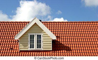 piros, tető
