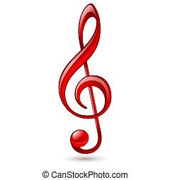 piros, treble clef
