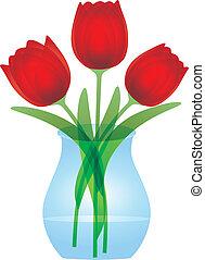 piros, tulipánok, alatt, pohár váza, ábra