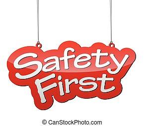piros, vektor, háttér, biztonság első