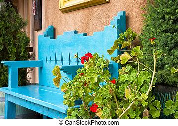 piros virág, előtt, egy, antik, bírói szék
