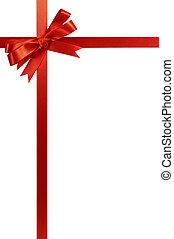piros vonó, karácsonyi ajándék, szalag, függőleges