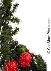 piros zöld, dísztárgyak, girland, karácsony